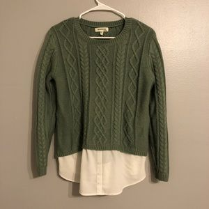 Monteau green layered sweater